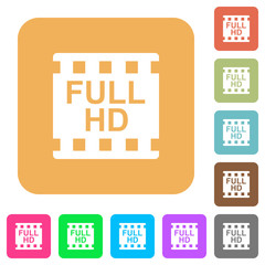 Full HD movie format rounded square flat icons
