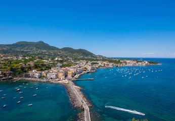 Panoramic view of Ischia town, Ischia Ponte, Ischia, Phlegrean Islands, Tyrrhenian Sea, Italy, South Europe