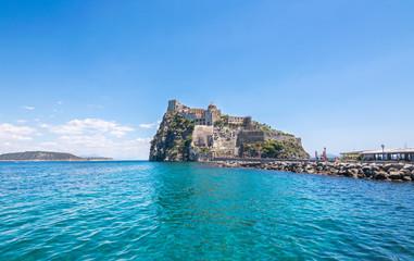 A summer day visiting Aragonese Castle and looking toward Capri and Vesuvi Ischia Ponte, Ischia, Phlegrean Islands, Tyrrhenian Sea, Italy, South Europe