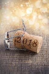 Champagnerkorken auf Holz 2018