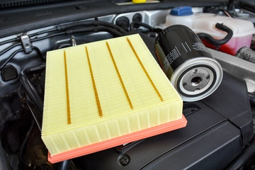 Oil and air filter on car ingine