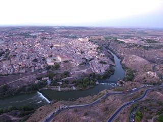 Vista aerea de Toledo, capital de Castilla La Mancha, España