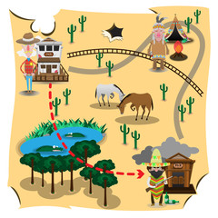 The Western Cowboy Maps, sheriff searching bandit cartoon vector