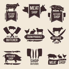 Design of monochrome labels set for butcher shop with illustrations of domestic animals and kitchen tools