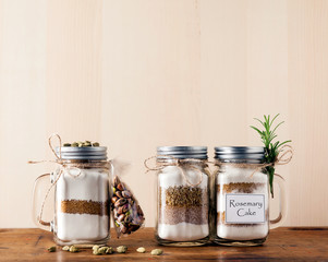 mix of flour, sugar, nuts for baking in a jar . Handmade gift.