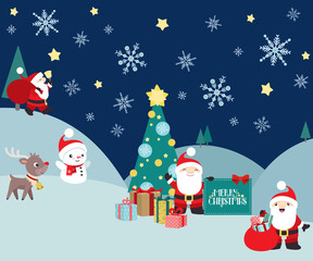 Christmas winter night scene with Santa Claus and presents