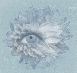 Foto auf AluDibond Surrealismus Eye of Petals