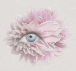 Foto op Textielframe Surrealisme Eye of Petals