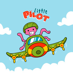 octopus pilot flying a plane, aircraft attraction show
