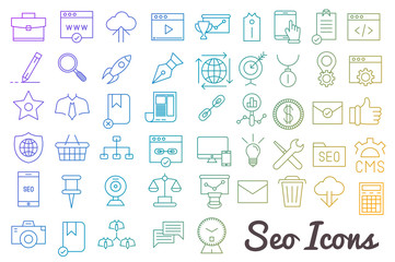 seo, developement, web icon set