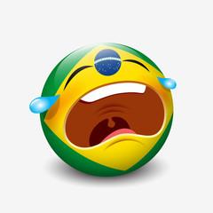 Sad, crying emoticon with Brazil flag motive, emoji