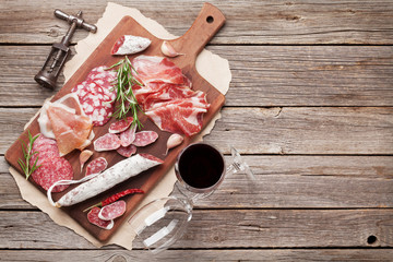 Salami, ham, sausage, prosciutto and wine