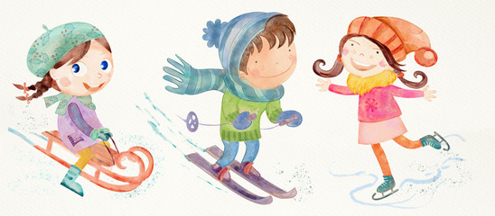 Winter playing outdoor. Watercolor set