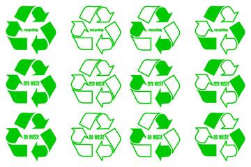 Recycling - no waste - zero waste - green vector set,  recycle logo