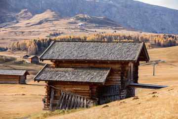 Wooden Cottages in the Dolomites