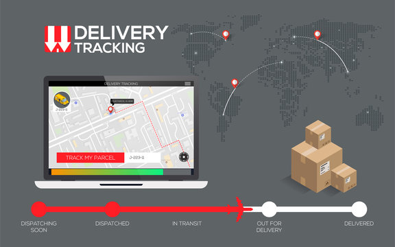 Delivery tracking concept, fast delivery, shipping. flat creative info graphics design for application. vector Eps 10