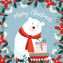 Cute christmas greeting card, invitation, with hand drawn polar bear wearing red scarf holding gift boxes. Floral frame made of holly berries and evergreen branches. Vector illustration background.