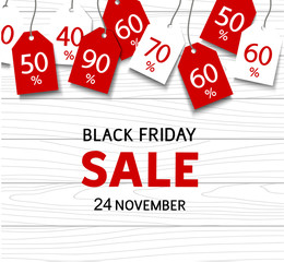 Black friday sale template. Vector discount tags on wood background and sale text