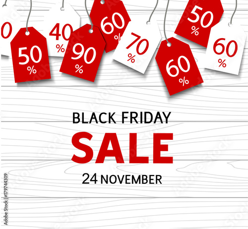 black friday sale template vector discount tags on wood background