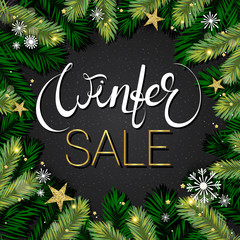Winter sale background. Holiday composition with tree brabches, gold foil snowflakes. Vector