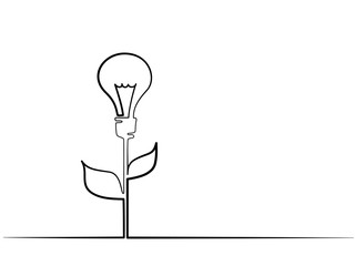 Continuous different width line drawing. Electic light bulb illuminated on stem of plant with leaves. Eco idea metaphor. Vector illustration