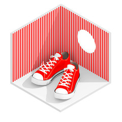 3d isometric rendering of red sneakers in red striped room