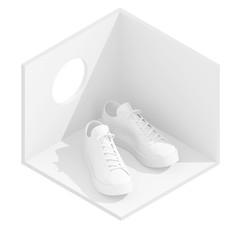 3d isometric rendering of white sneakers in empty room