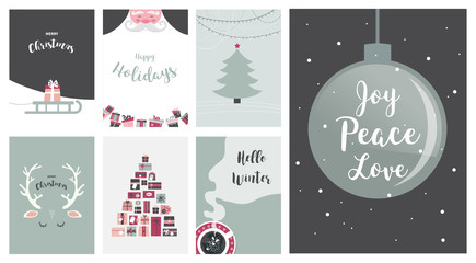 Merry Christmas cards, illustrations and icons, lettering design collection - no 7