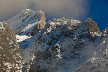 Fantastic starry sky autumn landscape and snow capped peaks main caucasian ridge mountain view