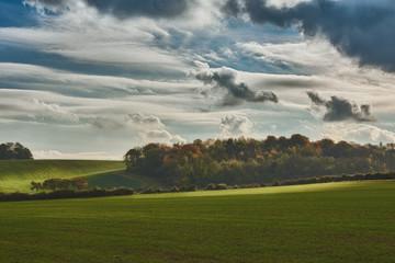 Autumn sunshine across Weston Hills, near Hitchin, Hertfordshire, England.