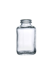 empty glass medicine container isolated on white