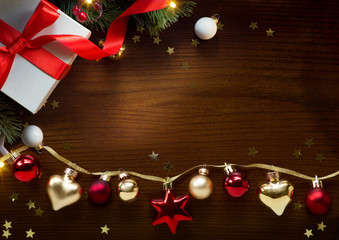 Christmas greeting card background; holidays composition on wood background with copy space for your text