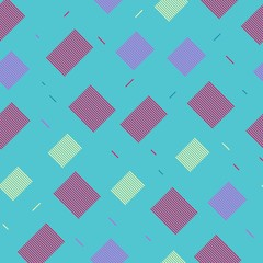 Seamless pattern with rectangles with stripes on a blue background. Repeating vector pattern.