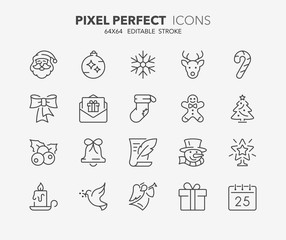 christmas thin line icons 1