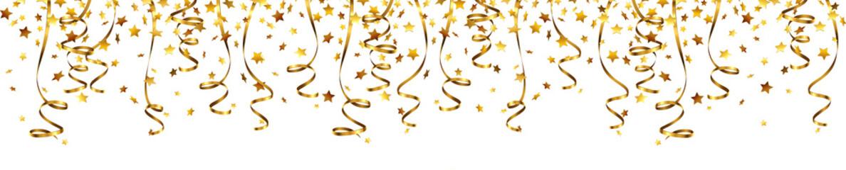 Konfetti Sterne mit Luftschlangen Gold - Banner