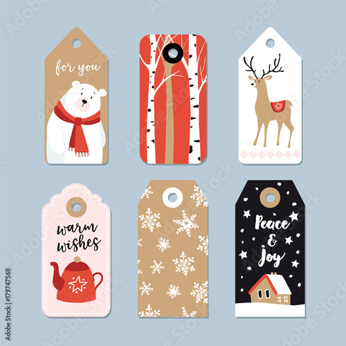 vintage christmas gift tags set hand drawn labels with birch trees