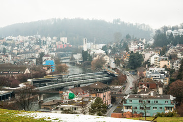 Lucerne on a foggy winter day
