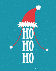 Canvas Prints Christmas Funny Christmas illustration with Santa hat and laugh - ho ho ho. Hand lettering on blue background.