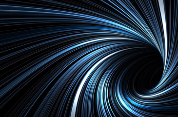 Photo sur Aluminium Spirale Dark blue tunnel with glowing spiral lines