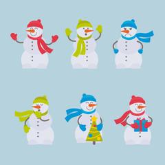 Set of vector flat colorful snowmen for web, print, mobile apps design