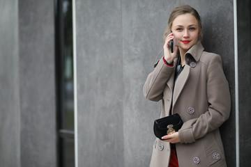 Cute businesswoman outdoor