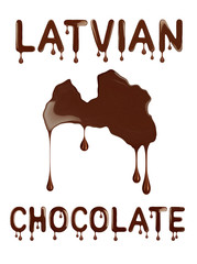 Latvian chocolate. Conceptual outline of Latvia made with chocolate.