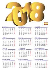 Spanish calendar 2018 vertical white