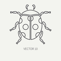 Line flat plain vector wildlife fauna icon dot ladybug. Simplified retro. Cartoon style. Insect. Beetle. Entomology. Tattoo art. Nature. Forest. Illustration and element for your design and wallpaper.