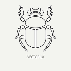 Line flat plain vector wildlife fauna icon bug, scarab. Simplified retro. Cartoon style. Insect. Beetle. Entomology. Tattoo art. Nature. Forest. Illustration and element for your design and wallpaper.