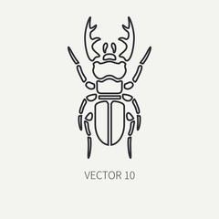 Line flat plain vector wildlife fauna icon stag beetle. Simplified retro. Cartoon style. Insect. Deer bug. Entomology. Tattoo art. Nature. Forest. Illustration and element for your design, wallpaper.