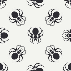 Flat monochrome vector seamless wildlife fauna pattern with black widow spider. Simplified. Cartoon style. Insect. Web. Entomology. Nature. Predator. Illustration, element for your design wallpaper.