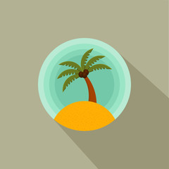 Palm trees Color vector icon of a palm tree on the island.