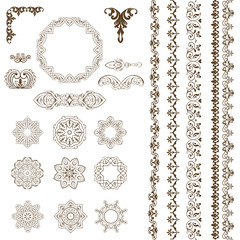 Oriental large set of patterns and ornaments. Vector set of borders, frames and decorative elements.