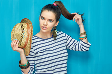 Beauty portrait of teenager girl with tail hairstyle